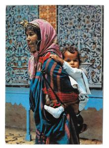 Tunisia Kairouan Arab Woman Child on Pilgrimage Postcard