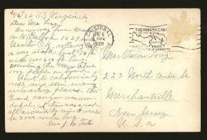 Postmark 1938 Cristobal Canal Zone Aboard SS Virginia Palm Trees Photo Postcard