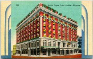 Mobile, Alabama Postcard BATTLE HOUSE HOTEL Street View Linen c1940s Unused