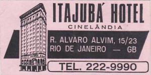 BRASIL RIO DE JANEIRO ITAJUBA HOTEL VINTAGE LUGGAGE LABEL