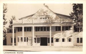 Lakewood Maine~Theatre~Billboard of Portraits on Left~1940s RPPC