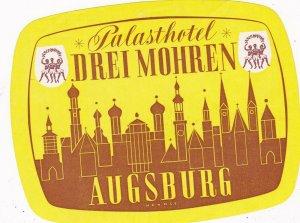Germany Augsburg Palasthotel Drei Mohren Vintage Luggage Label sk3250