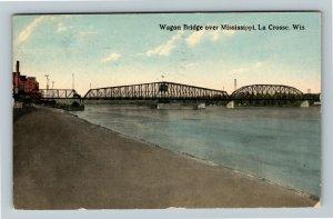 La Crosse WI-Wisconsin, Wagon Bridge Mississippi River, Vintage c1919 Postcard