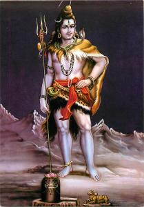 Shiva Hindu God in Mountains with Trident Postcard