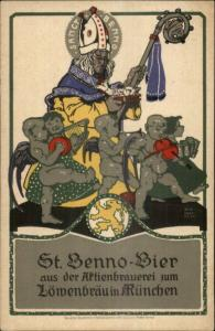 Beer St. Benno Bier Lowenbrau Munchen Munich German Nude Cherubs & King PC