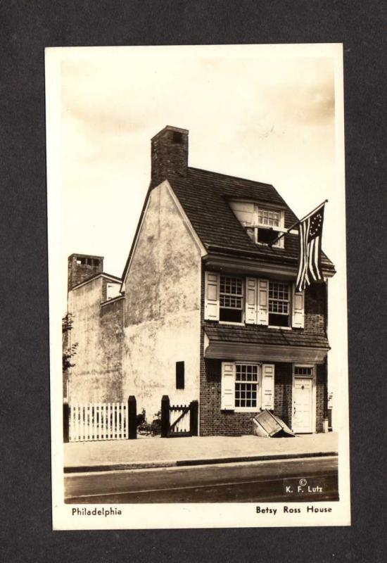 PA Betsy Ross House Flag Philadelphia Pennsylvania Postcard Patriotic Real Photo