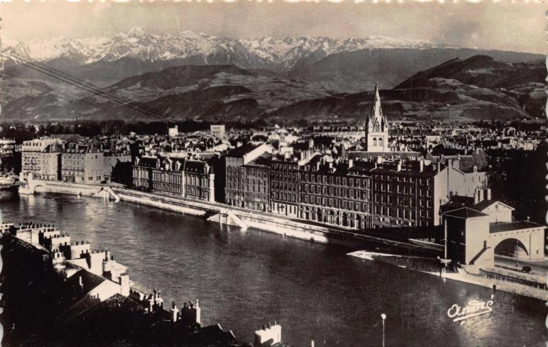 Vintage REAL PHOTO Postcard GRENOBLE General View and The Alps FRANCE