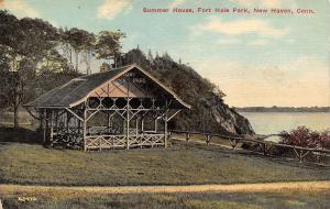 New Haven Connecticut~Fort Hale Park Summer House~Path to Water~1910 Postcard