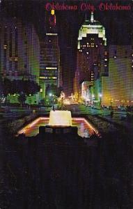 Oklahoma City Night View Of Park Avenue In Downtown Oklahoma City