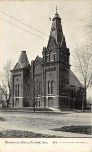 Fairfield Iowa~First Presbyterian Church~Bare Trees Along S Main Street~1912 PC