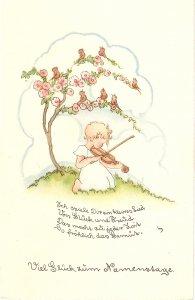 Little girl playin violin for birds Lovvely vintage German postcard