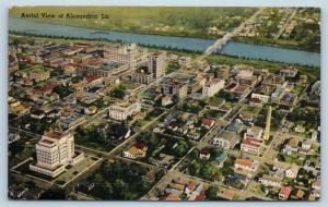 Postcard LA Alexandria Aerial View of City Business District Vintage Linen M06