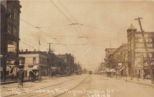 F67/ Lorain Ohio RPPC Postcard c1910 Leiter Broadway Stores Trolley