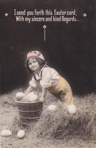 RP; Girl with basket of eggs, hay, 10-20s