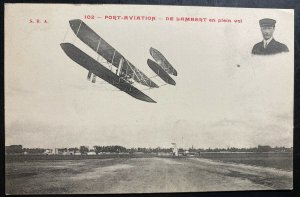 Mint France RPPC Real Picture Postcard Early Aviation Lambert Biplane Flight