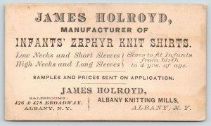 Albany New York~James Holroyd Mfg~Infants Zephyr Knit Shirts~Knitting Mills~1905