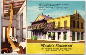 New Orleans, Louisiana Postcard MAYLIE'S RESTAURANT 1001 Poyrdas St. Linen 1950s