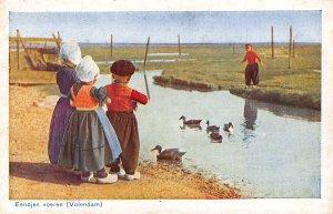 Netherlands Eendjes Voeren Volendam Ducks River Postcard