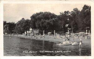 F51/ Chippewa Lake Medina Ohio RPPC Postcard 1942 Beach Bathers Boats 3