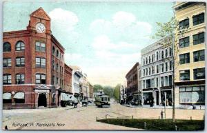 Rutland, Vermont Postcard Merchant's Row Downtown Street Scene 1908 Cancel