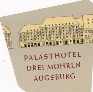 Germany Augsburg Palasthotel Drei Mohren Vintage Luggage Label sk3095