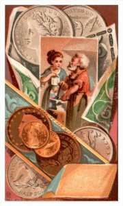20038  Victorian Card Working for Money, Coins, gold and silver