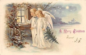 Merry Christmas Angel Angles Postal Used Unknown writing on front