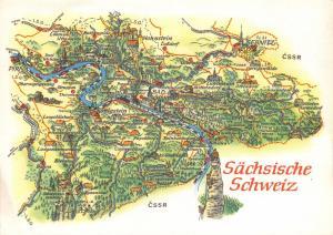 1970 Sächsische Schweiz Sebnitz Köngistein Schmilka Germany Map Postcard 47D