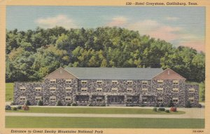 GATLINBURG, Tennessee, 1930-40s; Hotel Greystone, Entrance to Great Smoky Mou...