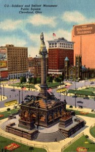 Ohio Cleveland Public Square Soldiers and Sailors Monument Curteich