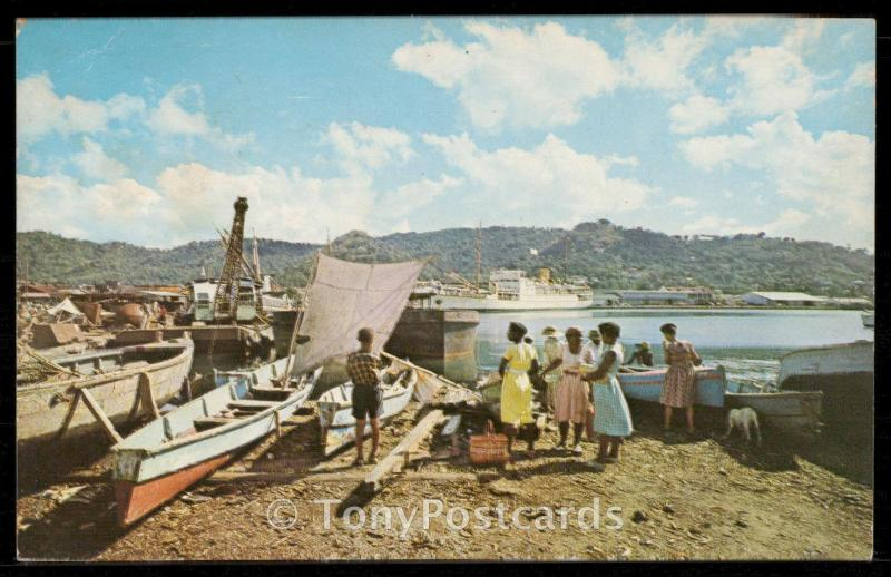 Fishing canoes and cruise ship in Castries harbour