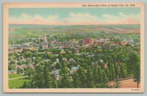 Rapid City South Dakota~Birdseye View Overlooking City~Linen Vintage Postcard