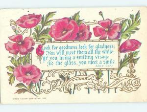 Divided-Back POET ALICE CARY QUOTATION WITH BEAUTIFUL FLOWERS o8701