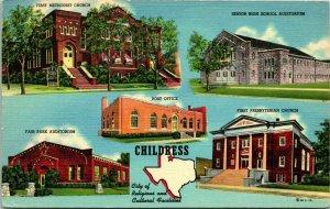 Vtg Linen Postcard Childress Texas TX Multiview Religious & Cultural Facilities