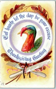 Vintage 1912 THANKSGIVING Postcard EAT HEARTY - Let the Day Be Your Excuse