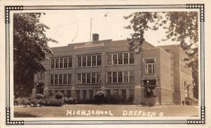 E21/ Dresden Ohio Real Photo RPPC Postcard 1931 High School Building