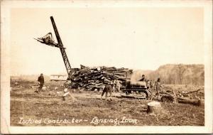 Lansing Iowa~Ischied Contractor~Dennison's Logging Crew~Crane~Tractor~1930s RPPC
