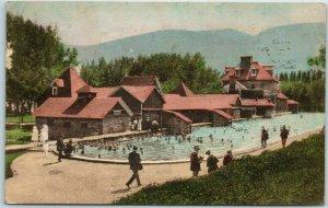 Glenwood Springs CO Postcard Swimming Pool & Stone Bath House HAND-COLORED 1929
