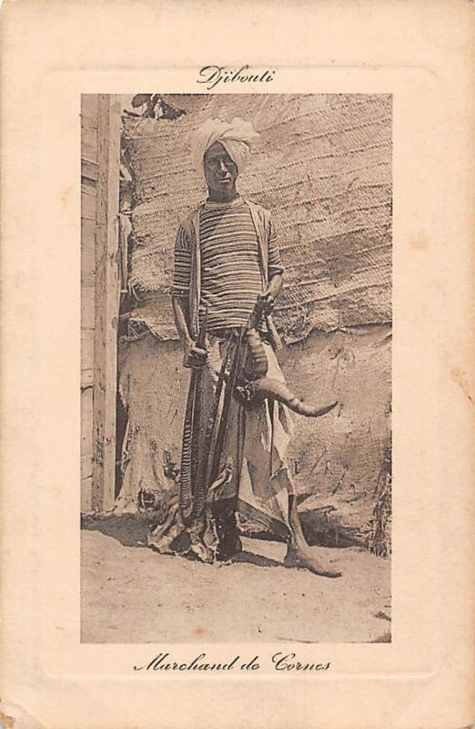 Embossed: Djibouti Marchand de Corne, Horn, Native Man