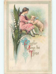 Pre-Linen easter CUTE GIRL WITH HER PET LAMB k2231