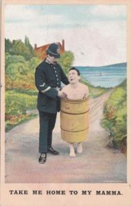 Bamforth Humour Policeman With Naked Man In Barrel Take Me Home To My Mamma