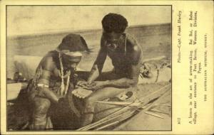Ethnography Bai Bai Village Port Bevan Papua New Guinea ARROW MAKING Postcard