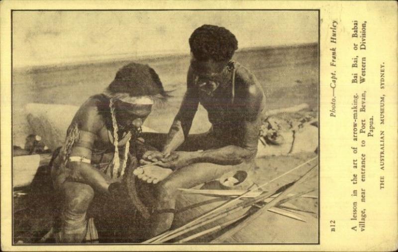 Ethnography Bai Bai Village Port Bevan Papua New Guinea ARROW MAKING Postcard
