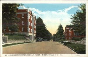 Hendersonville NC Fifth Ave c1920 Postcard