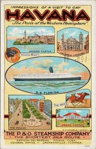 Havana Cuba P&O Steamship Co Advertising SS Florida Prado c1935 Postcard F89