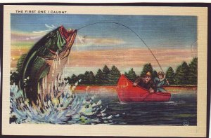 P1563 old unused postcard exaggerated  bass, fishing canoe, first fish i caught