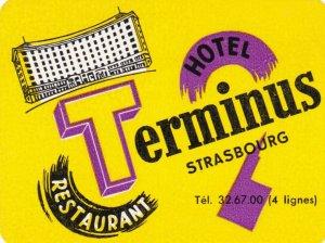 France Strasbourg Hotel Terminus Vintage Luggage Label sk2127