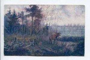 423481 HUNT Elk by KAMENSKY Vintage RUSSIA UNION postcard
