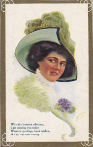 Beautiful Lady With Large Green Hat 1910