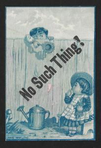 VICTORIAN TRADE CARD Alexandre Kid Gloves Blue Tint Boy Looking Over Fence Girl